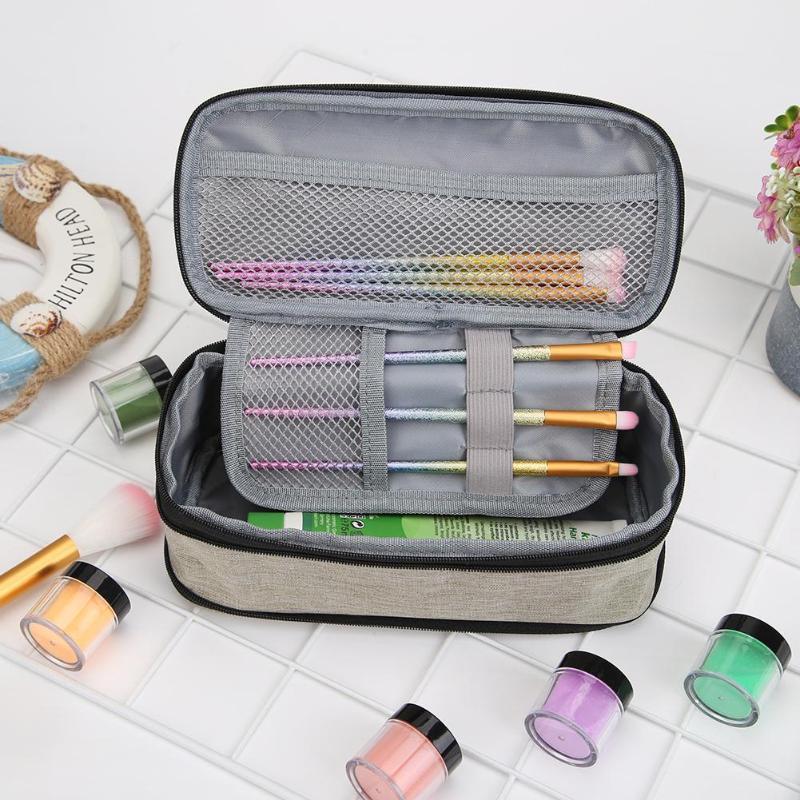 Toile Crayon cas multi couche Zipper Tissu Sac à main école papeterie étudiants Plumier Maquillage Voyage Sac de rangement