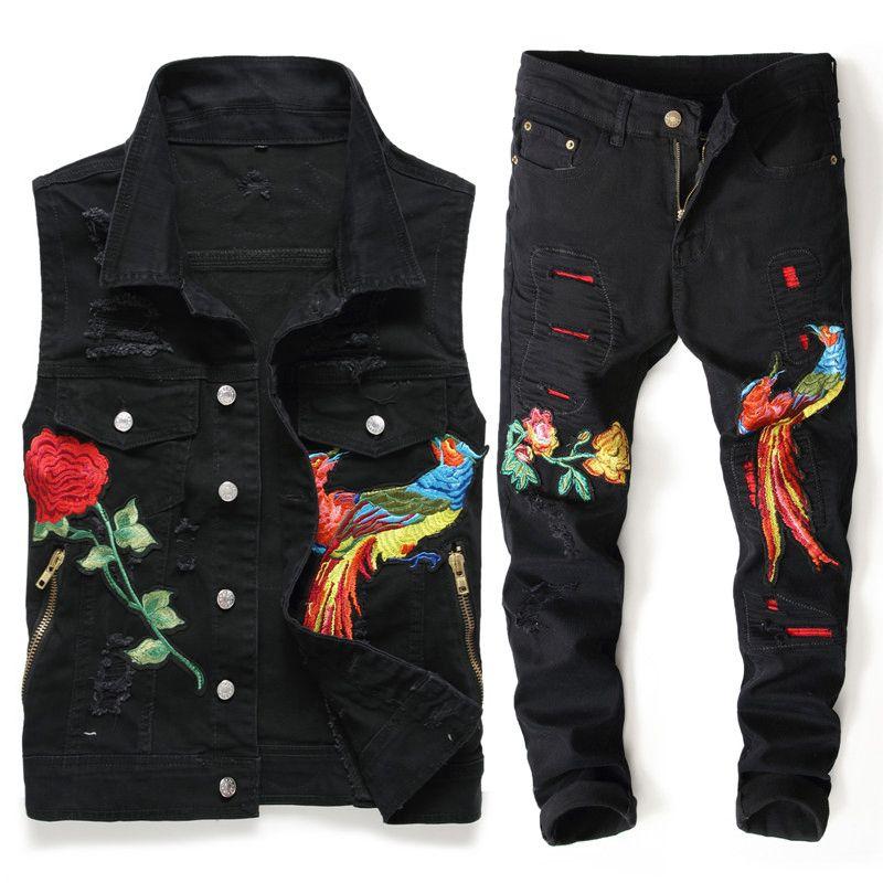 새로운 2019 봄 남성 운동복 착실히 보내다 피닉스 꽃 자수 구멍 레드 진 두 조각 남자 다운 칼라 조끼를 켜고 + 바지 세트