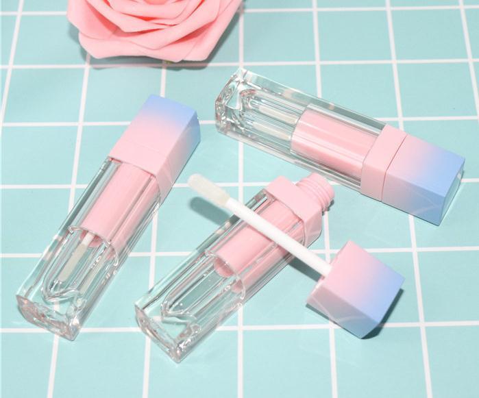 200pcs / lot Kare Boş Dudak Parlatıcı Tüp Gradyan Pembe Mavi Plastik Şık Ruj Likit Kozmetik Konteynerler 5ml Numune