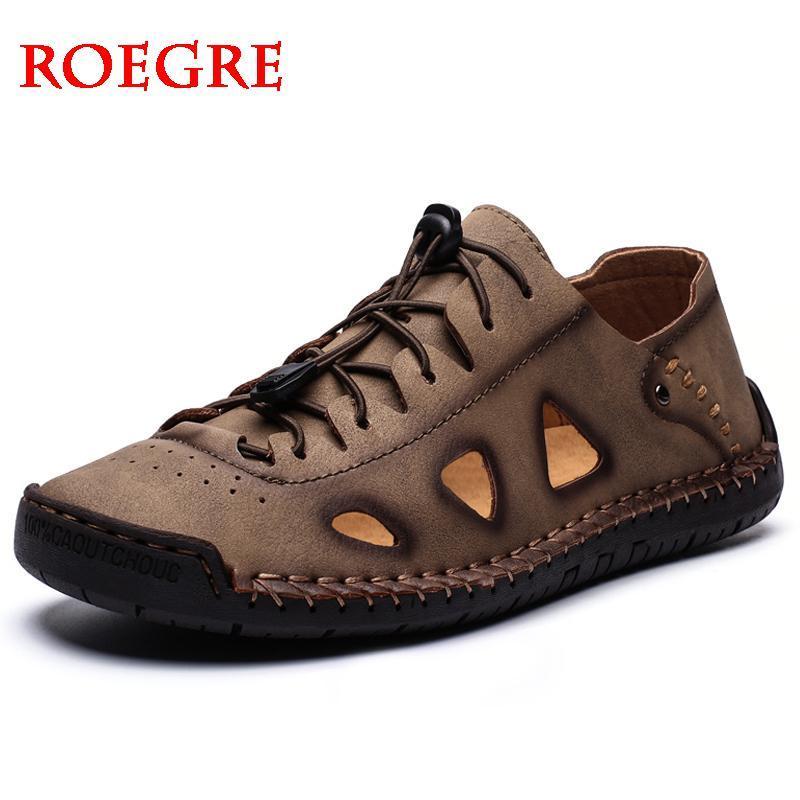 Verano sandalias de los hombres manera del cuero genuino de los hombres de la playa de las sandalias cómodas simples hombres Gladiador estilo del diseño de los zapatos para hombre