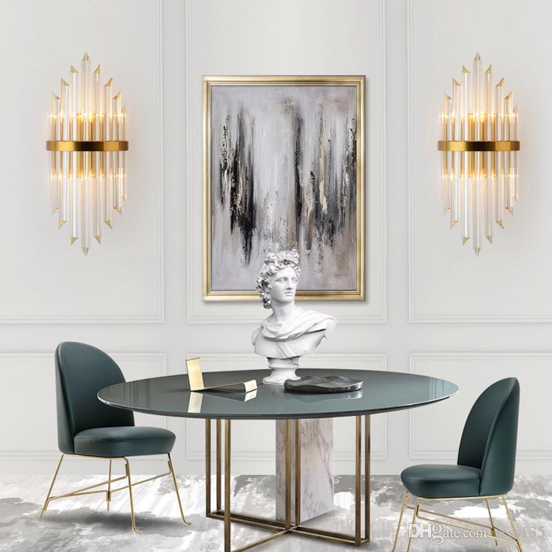 Lampe murale de luxe Mul Moderne Cristal Wall Sconce Éclairage lumineux Salon de chevet en acier inoxydable LED Wall LIG