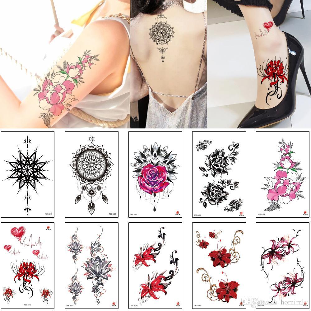 Временный маленький цветок татуировки наклейки цветной рисунок дизайн для мальчиков девочек ноги руки запястья тела хна пионы равноденствие цветок лотоса татуировки 3D