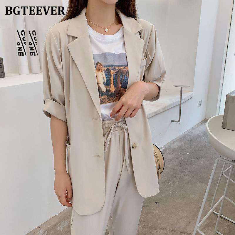 BGTEEVER verano mujeres de las bragas adapta a la chaqueta de manga corta de la cintura elástico de las bragas 2020 Mujer Blazer sistema ocasional de 2 Piezas Femme