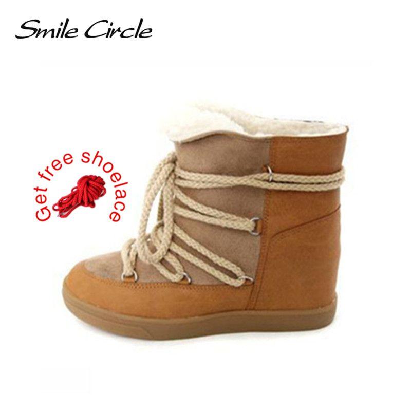 Sorria Círculo 2018 Sapatos de Inverno Para As Mulheres Lace-up Botas de Cunha Sapatos de Salto Alto das mulheres Sapatos Ankle Boots Botas de Neve de pelúcia Quente