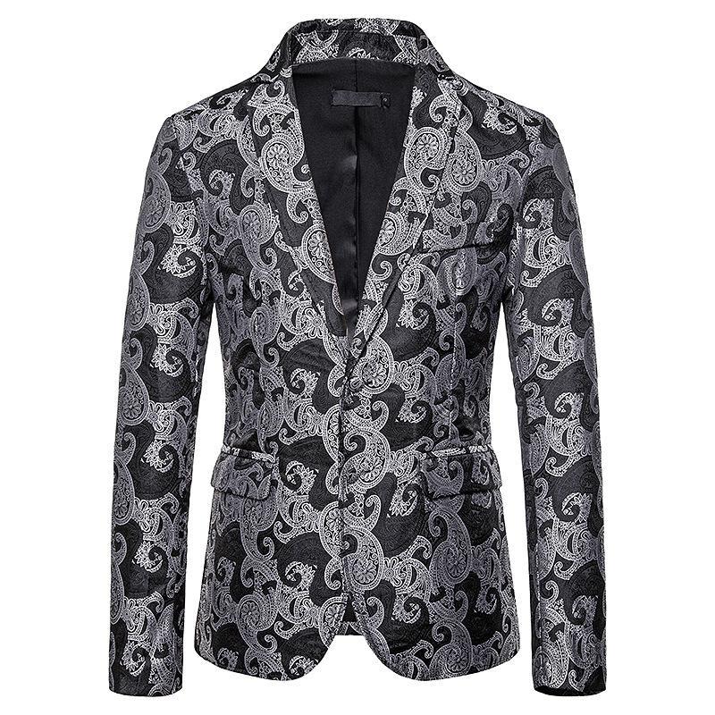 Черный костюм Paisley Blazer Мужчины Ночной клуб Пром Пиджаки 2020 тавра Mens Blazer куртки Бизнес Свадьба Groom Мужчины XXL