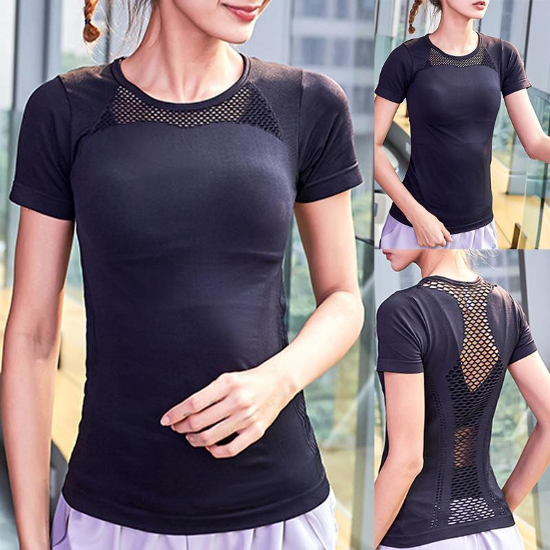 2020 Женских Назад Mesh Yoga Top Solid Color Спорт Бег тренировка Tank быстросохнущая Йоги одежда пригодность верхней Athletic T-Shirt