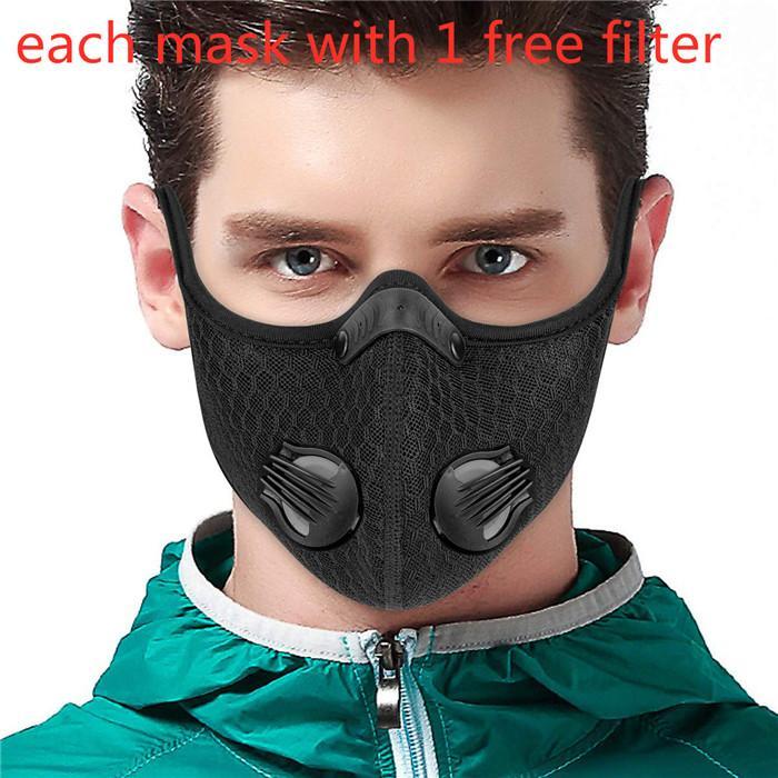 Máscara facial bicicleta de entrenamiento deportivo PM2.5 anticontaminación Correr máscara con válvula de doble Filtro de carbón activado Máscara lavable