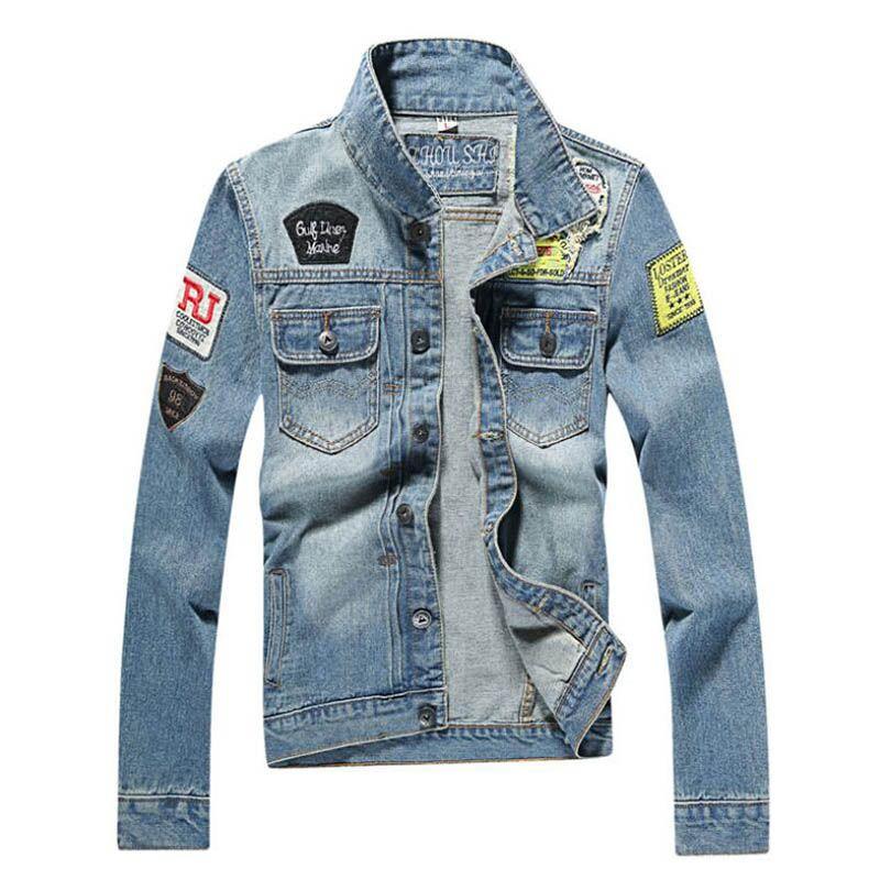 Neue Männer Jeansjacke beiläufige dünne Jean-Jacken-Mantel Im Freien Mode Herbst Langarm Outwear Jacke plus Größe 5XL