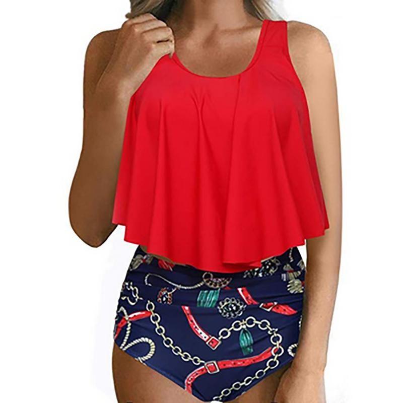 Tankini 2019 Swimming Suit Para Mulheres Swimsuit Plus Size Sexy Halter Cadeia impressão Swimwear Dois ternos Feminino terno de banho