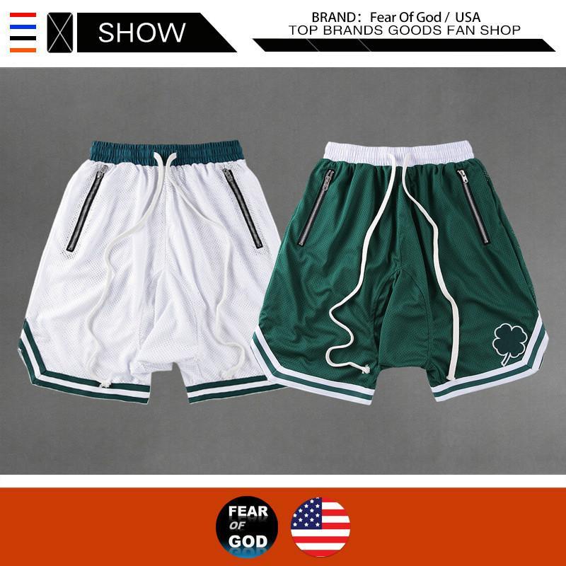 concepteur rue haute marée marque FEAR OF GOD maille Europe et en Amérique marée short lâche FOG Celtics pantalon mode de basket-ball de la mode