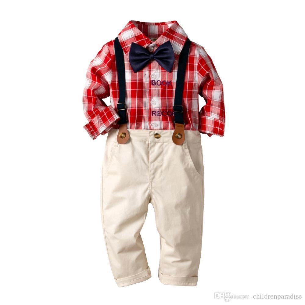 Terno do bebê Menino infantil Terno das crianças xadrez vermelho camisa de manga longa + Moda Calças + Gentleman Bow Tie 3 Pcs Baby Boy roupas