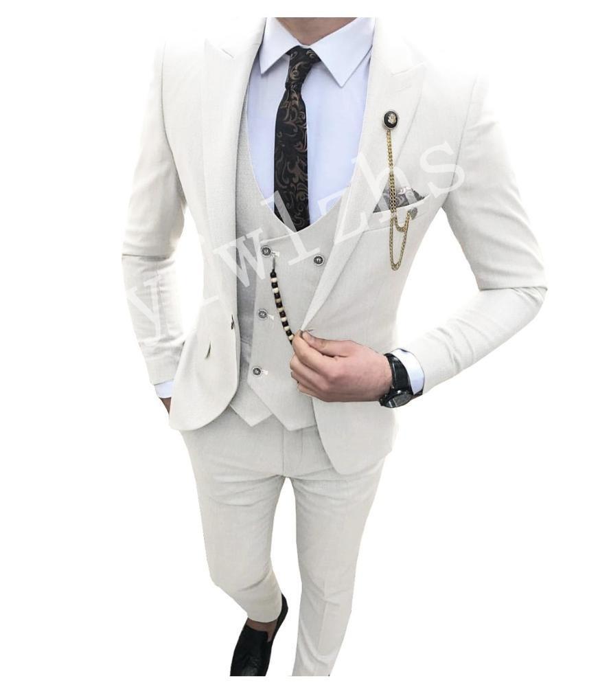 Custom-made pico lapela Groomsmen Um botão do noivo smoking Homens ternos de casamento / Prom / Jantar melhor homem Blazer (jaqueta + calça + gravata + Vest) W126