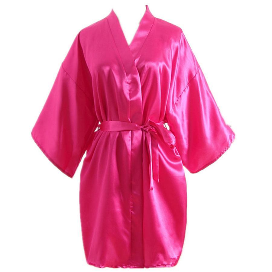 Kadın Sahte Ipek Saten Gecelik Anne Kısa Kollu Saf Renk Pijama Kadın Yaz Gevşek Ev Giysileri Bornoz RRA404