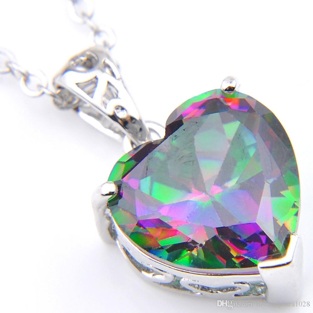 Kadınlar Gökkuşağı Aşk Kalp Doğal Mysti Topaz Gemston 925 gümüş Kadınlar Taşlı Zirkon Düğün kolye Kolye için 10 Ad LuckyShine