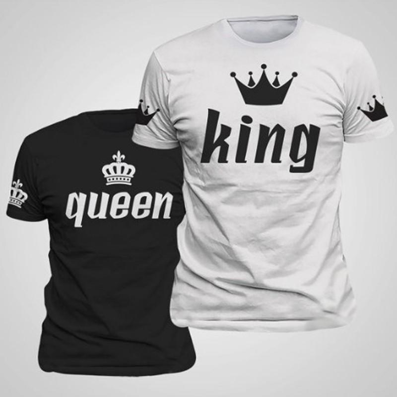 King & Queen Couple Matching T-Shirts Short Sleeved T Shirts Print Cotton T Shirt Couple Clothes (Queen Is Women,King Is Men) Size S-2XL