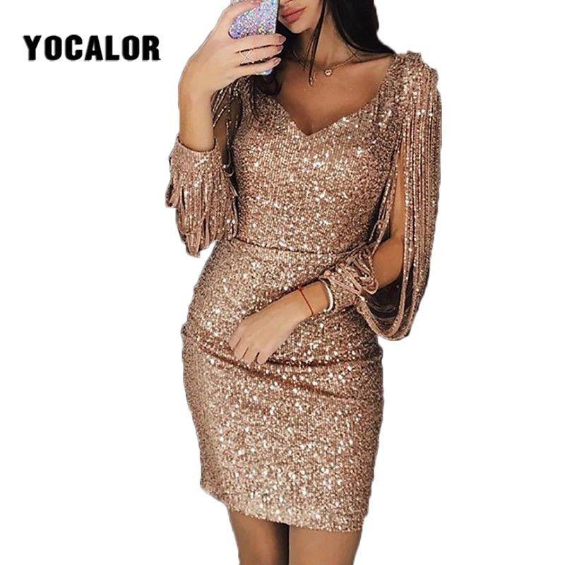 2019 Fashion Long Sleeve Tassels Summer Sundress Party Bodycon Gold Sequin  Dresses Short Skater Dress For Girl Plus Size Women Dress Summer Dresses ...