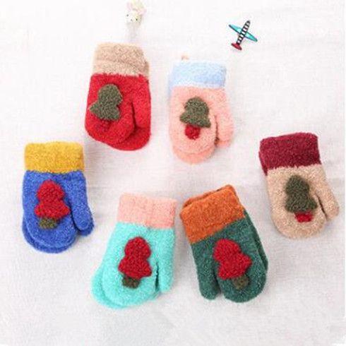 Детские Елка перчатки Мальчики Девочки Симпатичные Вязаные перчатки Открытый Зимние теплые варежки цвета конфеты варежки детские аксессуары WY28Q-1