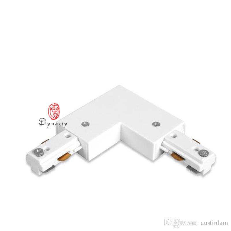 Track-Steckverbinder Aluminium I-Form Steckverbinder T-Form-Connect LED Spotlights Schiene 2-Draht-Verbindungs Qualitäts-Schwarz-Weiß-freies Schiff