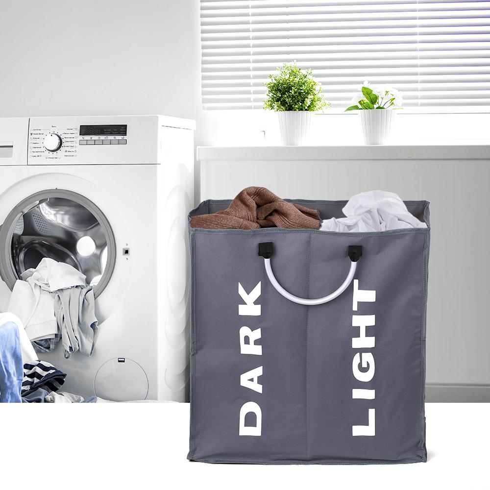 Laundry Bag Foldable Laundry Basket Large Dirty Laundry Basket Hamper Sorter Oxford Cloth Dirty Clothes Bag with Aluminum Handle