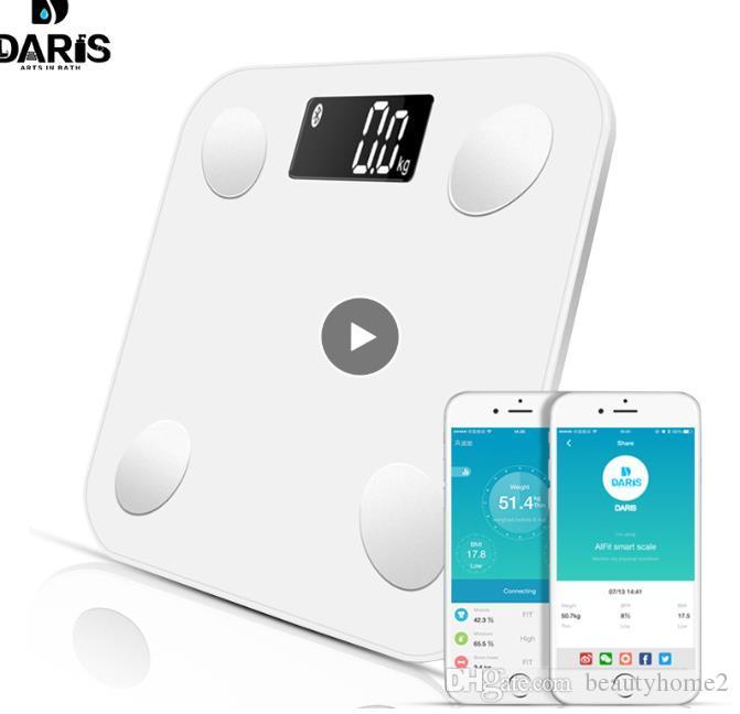 Bluetooth escalas chão Peso Corporal Escala de banheiro inteligente backlit Muscle Scale Peso Corporal Body Fat Água Mass BMI