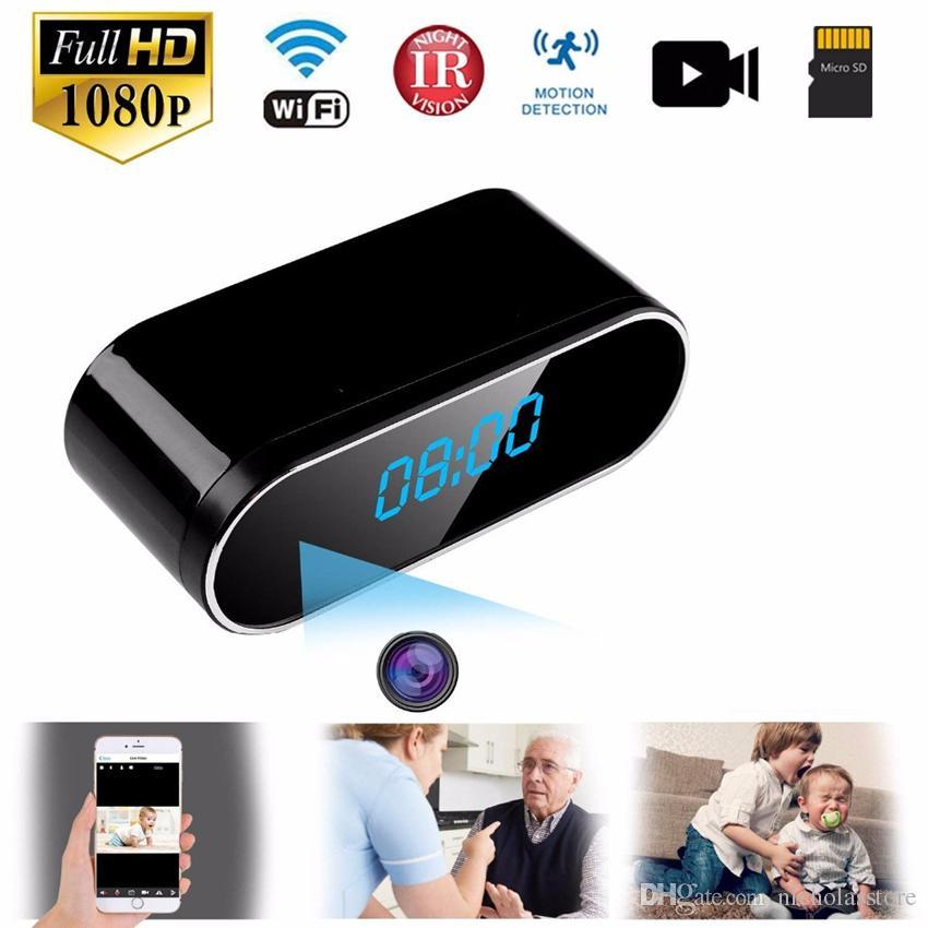 Orologio della macchina fotografica 1080P HD IP delle macchine fotografiche WIFI comando a scomparsa IR Night View Alarm Clock Camcorder video PK Z16 Digital Camera mini DV DVR