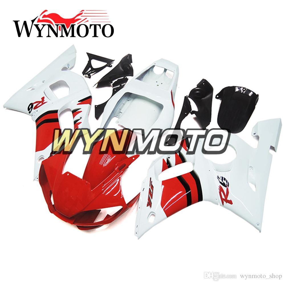 Motosiklet Kalafatlama için Yamaha YZF 600 R6 1998 2000 2001 2002 1999 ABS Plastik Enjeksiyon motosiklet Setleri kaportası kapakları beyaz kırmızı geçiştirmeye