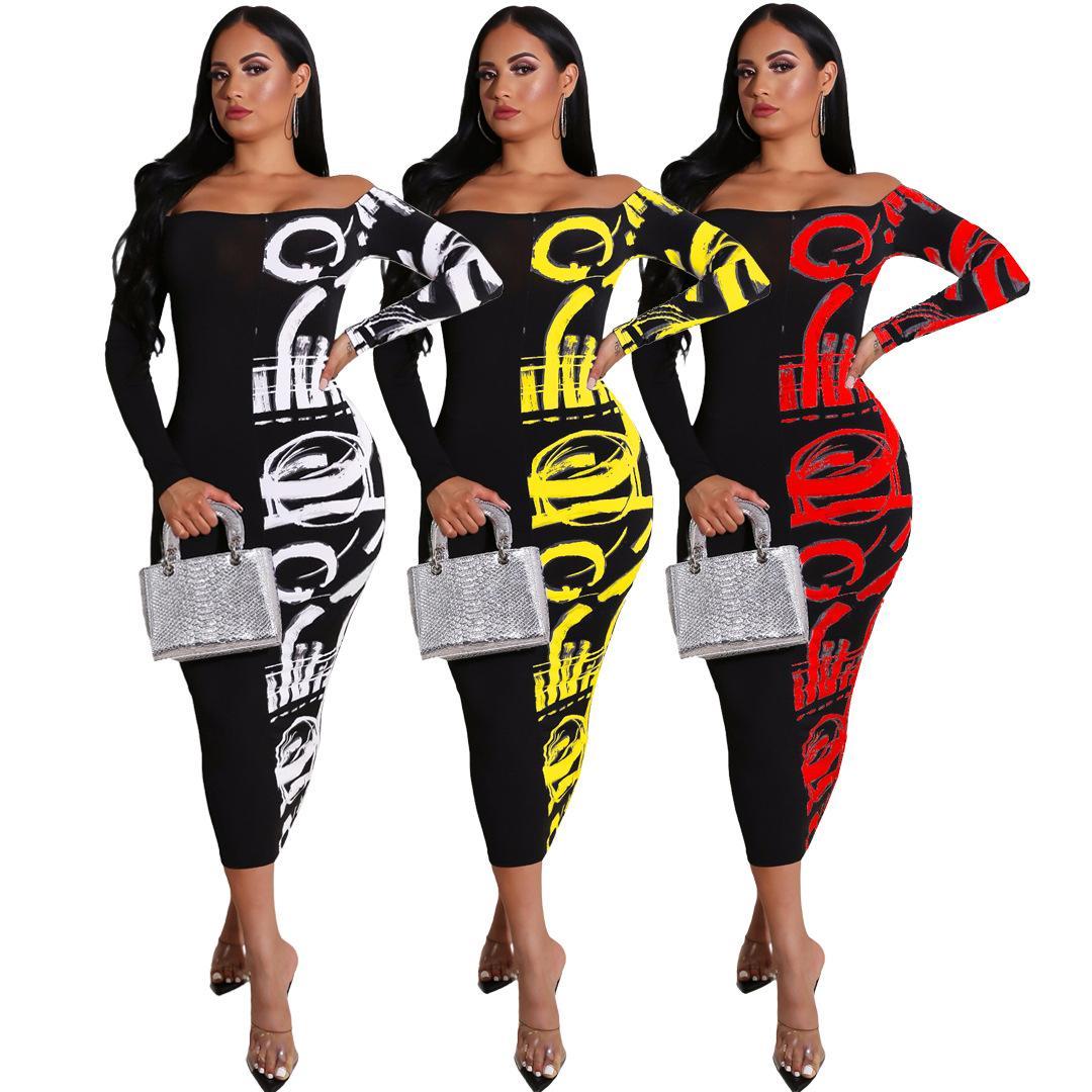Womens Designer Robe imprimée Remarque Jupe longue Ins Mode Brochage Conception pour 2020 Printemps Eté Casual Dress Stretchy Plus Size 3 Couleur