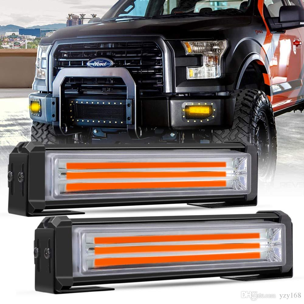 White Amber Emergency LED Strobe Light Bar, 40w/set 6 inch Car DC 12V On Off Switch