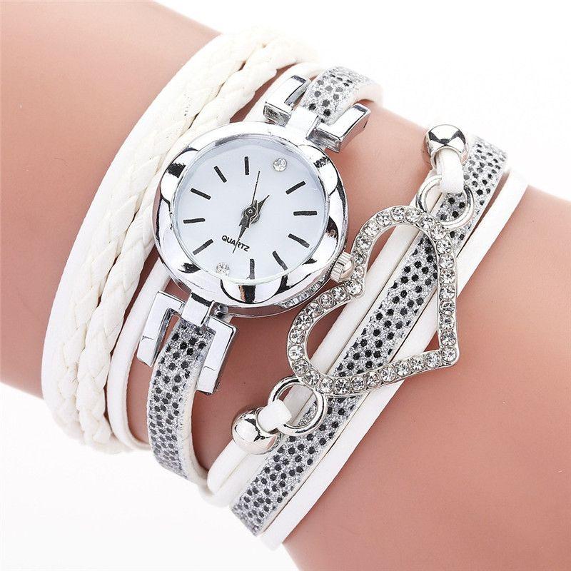 Diamond Love Heart Women Regardez Crystal Braid Winding Bracelet Watches Fashion Bracelet Dial Quartz Montre-Bracelet en cuir PU Watch