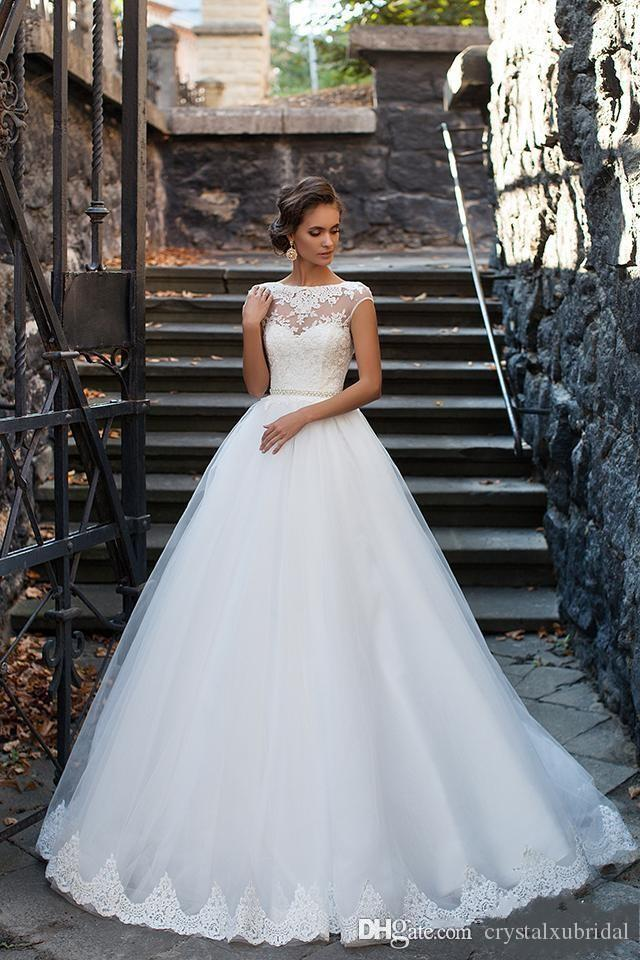 Milla Nova 2020 Cheap A Line Wedding Dresses Illusion Cap Sleeves Lace Appliques Beaded Sashes Sexy Open Back Plus Size Formal Bridal Gowns