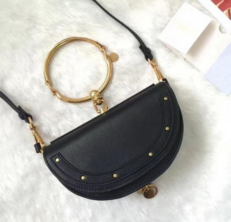Genuine leather handbags Small Mobile Phone Bag Special Offer Real Summer Metal Ring Half Moon Shoulder Corssbody Mini Cloe