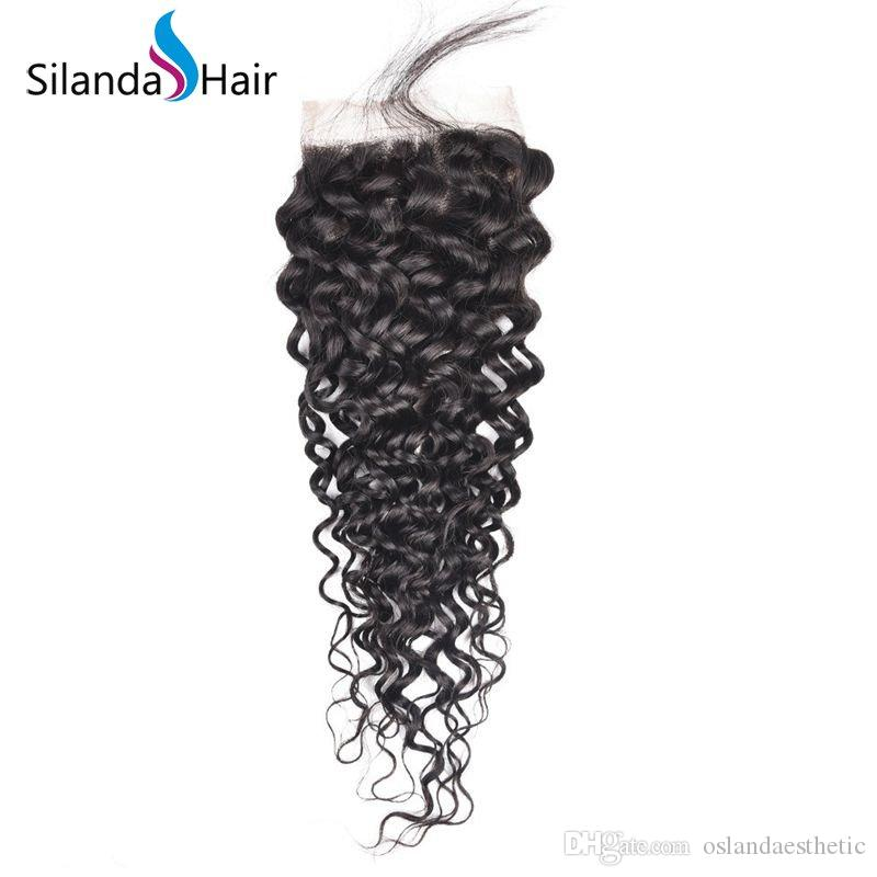 Silanda Hair Low Cost Factory Price Natural Black Color #1B Jerry Curly Brazilian Remy Human Hair Lace Closure Free Part 4x4 Free Shipping