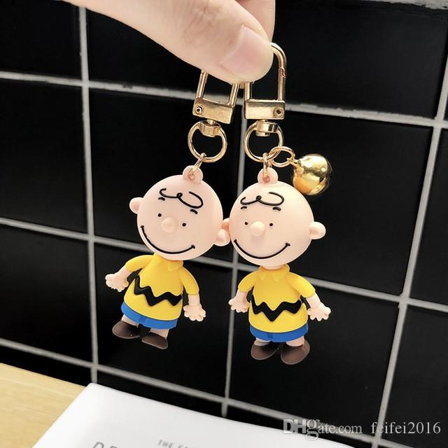 2020 Anime Keychain Charlie brown Snoopy Character dolls Key chain For men's And Women's bags silicone doll Car key pendant Key ring
