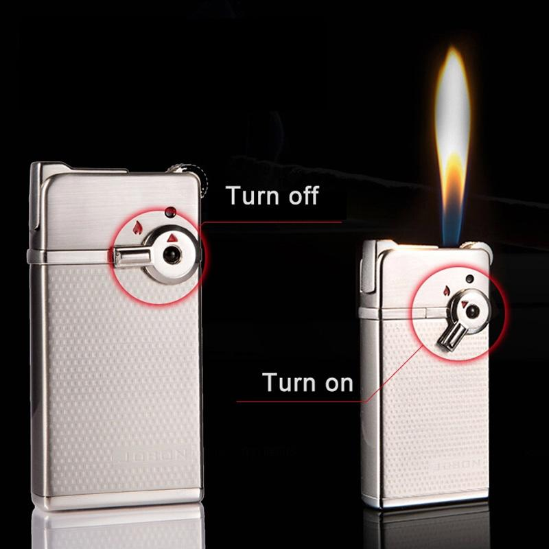 Jobon Torch Lighter with 2 Kinds Flame Creative Grinding Wheel Refillable Jet Lighters for Cigar Cigarette