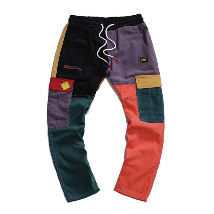Осень Мужчины Брюки Mens Casual Вельвет Multi-Process Color Matching Брюки Брюки шнурком гетеросексуальных мужчин Длинные Sweatpants