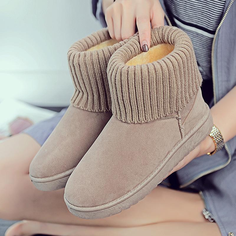 눈 부츠 겨울 2019 새로운 한국어 버전 100 평면 바닥 학생 부츠 짧은 부츠 플러스 벨벳 따뜻한 목화 신발