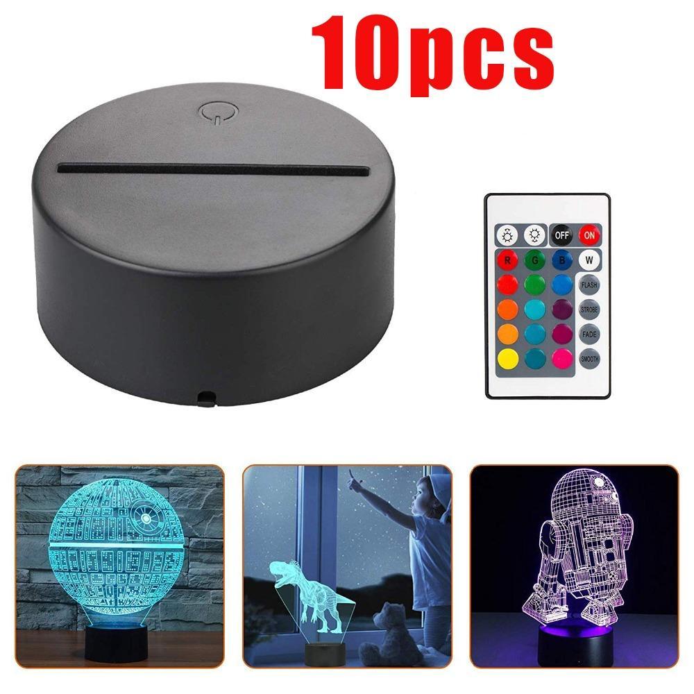 Base de lámpara de luz LED de noche 3D, luces de noche de ilusión 3D LED, 7 colores cambiando para sala de dormitorio, sala de estar, tienda de café, oficina de café