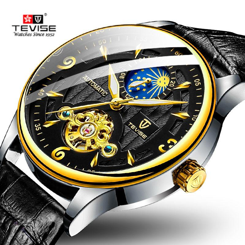 Fashion Brand TEVISE Men Watch Automatic Mechanical Watch Leather Strap Moon phase Tourbillon Sport Clock Relogio Masculino