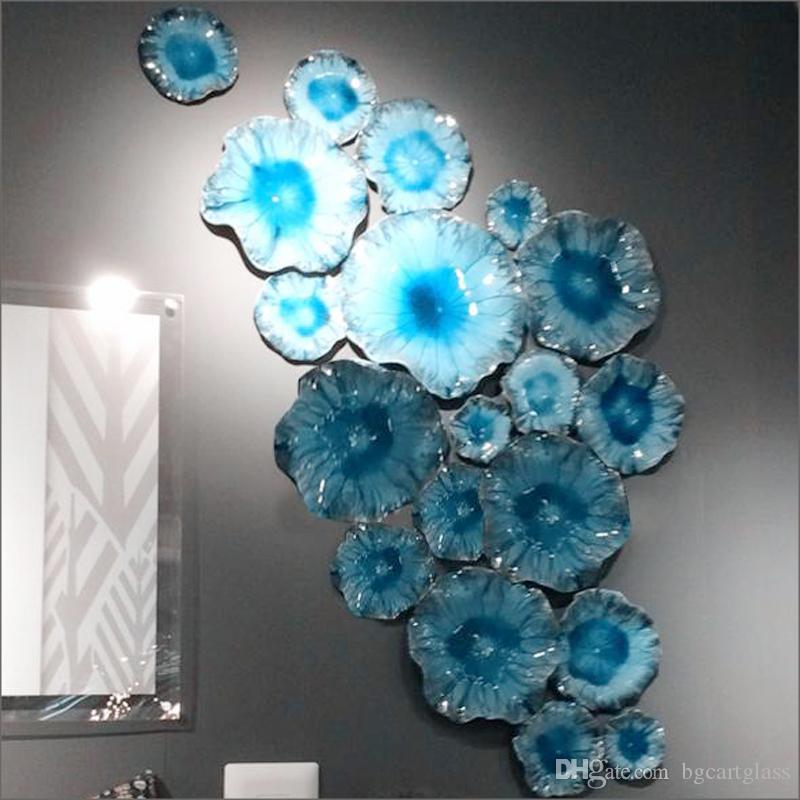 Neue entworfene Murano Glas Hängen Wandkunst Dale Chihuly Art Borosilicatglas-Kunst-Hand Blown Blue Glass Blumen Wandleuchten