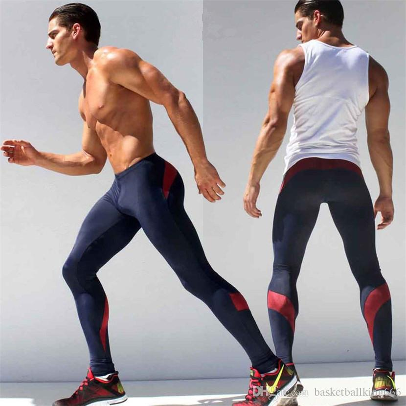 Free Shipping Mens High Elasticity Training Fitness pants Sports Pants Comfortable Air-permeable Quick drying Fitness Pants
