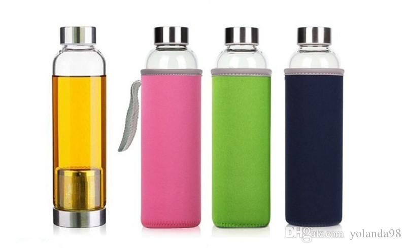 22oz الزجاج زجاجة المياه bpa الحرة عالية مقاومة درجات الحرارة الزجاج الرياضة زجاجة المياه مع مرشح الشاي infuser زجاجة النايلون كم 5 ألوان
