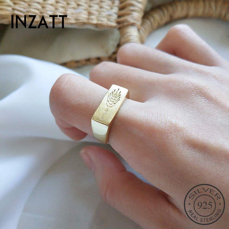 INZAReal Argent 925 Minimaliste Bague rectangle Totem pour la mode Femmes Beaux bijoux à la mode 2019 Accessoires Cadeau