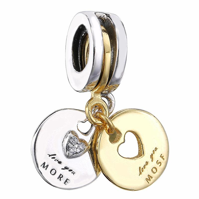 Authentic 925 Sterling Silver Round Charm Bead Fit European DIY Original Jewelry