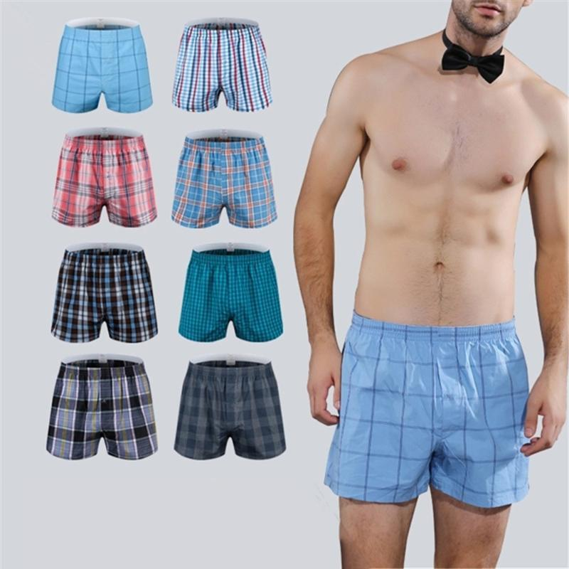 4Pcs/Lot Classic Plaid Men's Boxers Cotton Oversize Mens Underwear Trunks Woven Homme Arrow Panties Boxer Plus Size 4XL 5XL 6XL