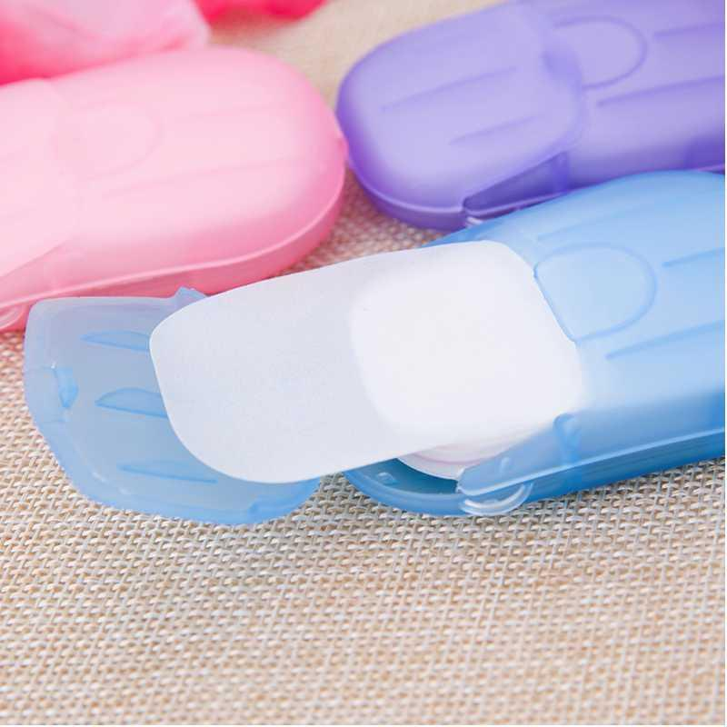 50pcs/box Portable Travel Soap Paper Disposable Mini Soap Paper Anti Dust Washing Hand Bath Cleaning Boxed Foaming Drop Ship Epack