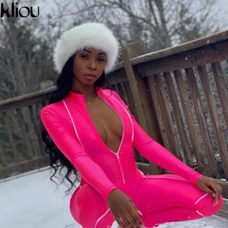 Kliou mulheres magras rompers longos macacão zipper gola boa bodysuit elástico 2019 outono nova moda patchwork reflexivo