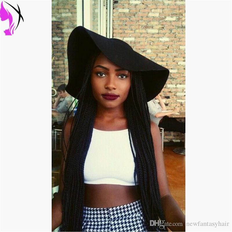 1 # peluca afroamericana de encaje trenzado frontal peluca sintética resistente al calor del pelo frontal largo pelucas micro trenzadas para mujeres negras