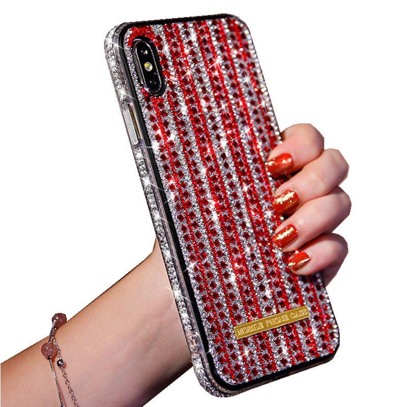 البريق مضيء الزجاج قضية الهاتف الخليوي لفون برو 11 س XR XS ماكس 8 7 6 بالإضافة إلى بلينغ بلينغ حالة حجر الراين الغطاء الخلفي فتاة أزياء