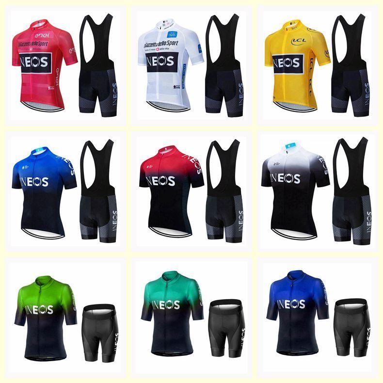 INEOS 팀 사이클링 반팔 저지 턱받이 반바지 2020 새로운 남성 탑스 남자 운동복 산악 자전거 옷 U20030610