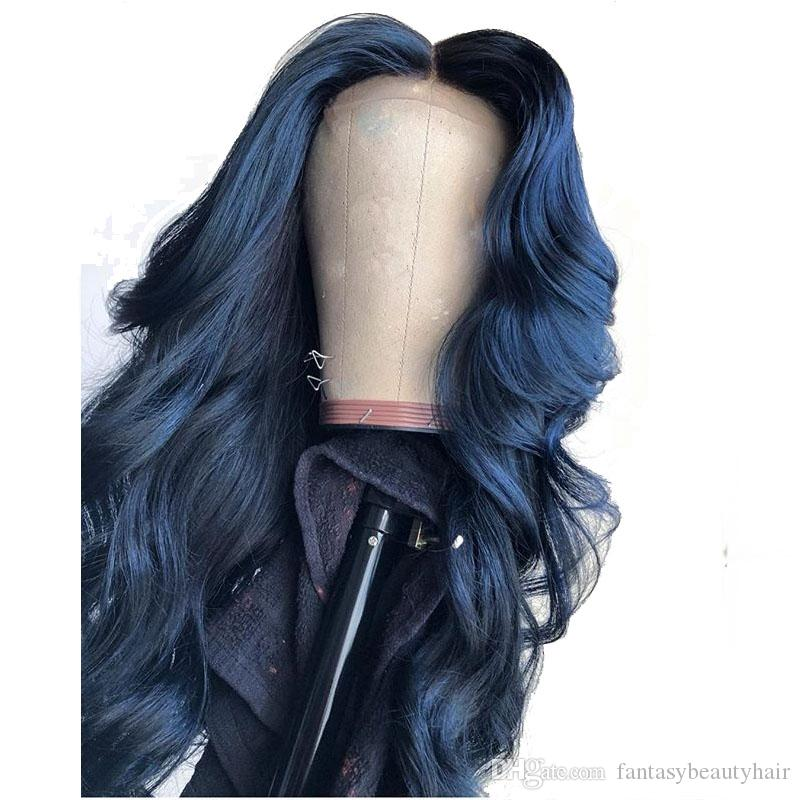 13X6 Deep Part Blue Colored Lace Front Human Hair Wigs Loose Wave Full Lace Frontal For Black Women Preplucked Can Make 360 Bun